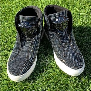 VERSACE Swarovski Crystal High-Top Sneakers